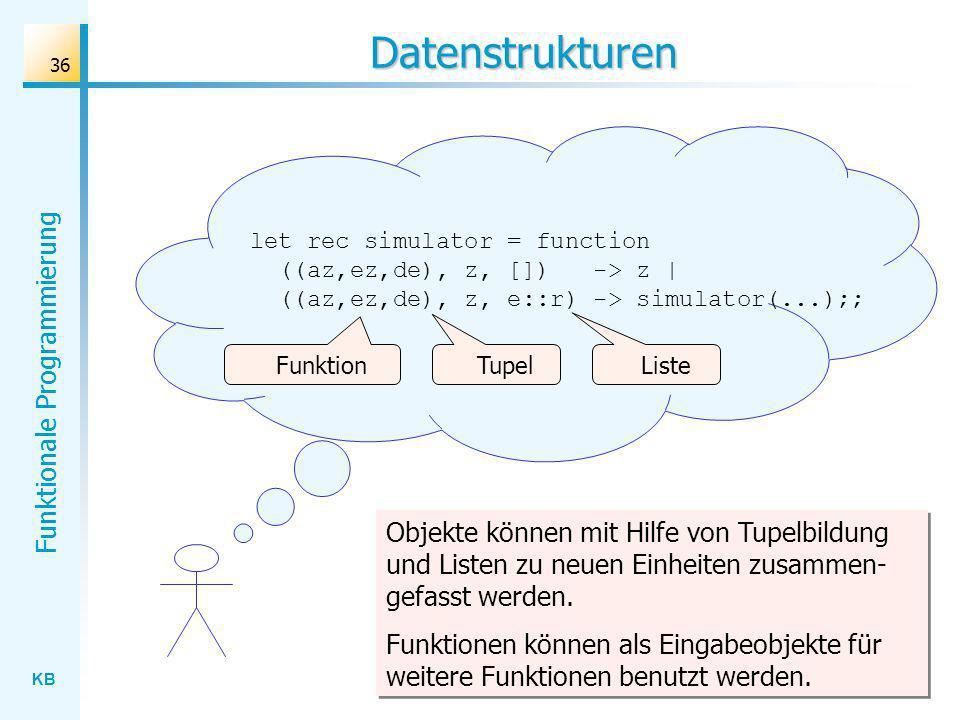 Datenstrukturen let rec simulator = function ((az,ez,de), z, []) -> z | ((az,ez,de), z, e::r) -> simulator(...);;